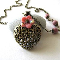 Antiqued Bronze Puffed Heart Necklace Jewelry With Rhodonite Stones And Pink Flower - Long Chain Nec | Luulla