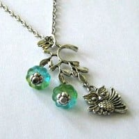 Antiqued Silver Owl Necklace Jewelry With Branch Pendant And Blue Green Flowers | Luulla