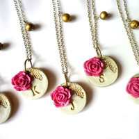 Bridesmaid Necklace Romantic Vintage Rose Set of 8 by Palomaria