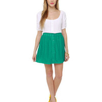 Cute Crocheted Skirt - Teal Skirt - Button Front Skirt - $33.00