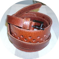 SALE womans obi leather belt handmade brown