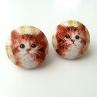 NEW Crazy cat lady orange cat fabric button earrings
