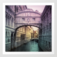 Ponte dei Sospiri | Bridge of Sighs - Venice (colored version) Art Print by  VIAINA | Society6