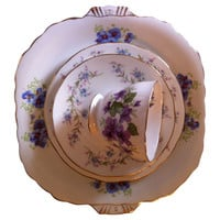 One Kings Lane - The Floral Table - Purple Floral Sprigs China, 4 Pcs