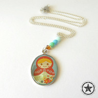 Matryoshka Doll Charm Necklace in Coral and Silver - Nesting Doll Childrens Necklace