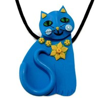 Daffodil Cat Necklace to Brooch, Spring, Easter, yellow, blue, Polymer