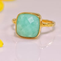 Chrysoprase Ring Gemstone Ring Gold Ring Bezel Ring by delezhen