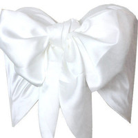 Ivory white Satin Silk Bow Bandeau Cropped Top by goodnightmacaroon - Chictopia