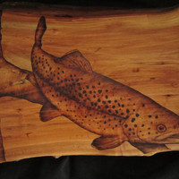 trout fishing nautical wall hanging  hand made trout by SepiaTree