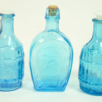 Three Small Blue Glass Bottles by LilytheDogVintage on Etsy