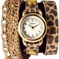 Triple Chain Wrap Watch-Cheetah Print: Watches: Amazon.com