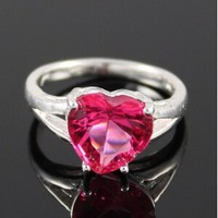 Pink heart cubic zirconia sterling silver ring