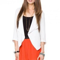 Draped Crepe Blazer in Milk - ShopSosie.com