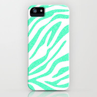 Mint Zebra iPhone Case by MN Art