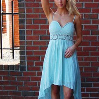 Mint High-Low Dress with Lace Bodice and Crochet Detail