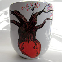 Hand-Painted Anatomical Heart and Tree Mug