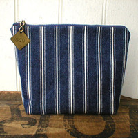 Indigo stripe denim utility pouch  eco vintage by breadandroses2