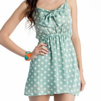 polka dot tie front dress $32.20 in MINT - Seafoam Green | GoJane.com