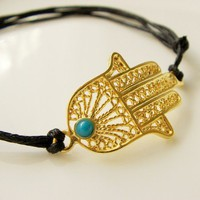 Gold plated brass hamza with blue jade bracelet | moonfairy - Jewelry on ArtFire