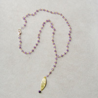 Amethyst and gold lariat necklace, amethyst and gold plated silver lariat necklace by Akatos