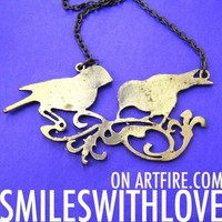 SALE - Love Birds Animal Silhouette Charm Necklace in Brass