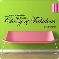 "48"" Coco Chanel Classy and Fabulous - WALL STICKER DECAL QUOTE ART MURAL Large Nice: Home & Kitchen"