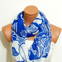 Infinity Scarf,Blue chiffon,Blue and White striped scarf,Loop Scarf,Circle Scarf, Striped Chiffon Scarf,Cowl Scarf,Nomad Cowl.Eternity Scarf