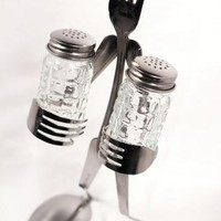 Salt and Pepper Holder Grid Shaker Fork by forkedupart on Zibbet