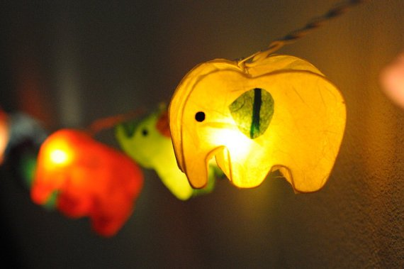 Paper Lantern String Lights For Bedroom : 20xhandmade Elephant zoo animal plant from cottonlight on Etsy