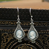 Blue Lady Cameo Earrings - RagTraderVintage.com