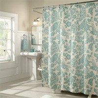 Floral Shower Curtain - Birds of a Feather Aqua Fabric Shower Curtain by M.Style