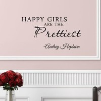 Amazon.com: #3 Happy girls are the prettiest. Audrey Hepburn. Vinyl wall art Inspirational quotes and saying home decor decal sticker: Home &amp; Kitchen