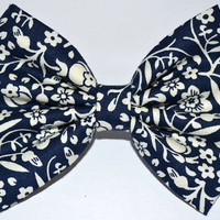 Navy and White Floral Hair Bow by DreamingOfBows on Etsy