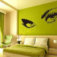 Large Audrey Hepburn`s Eyes Vinyl Wall Decal Girl`s Bedroom /Living room Art Decor Birthday Gift Hotel Ornament - 45&amp;quot; Black: Home &amp; Kitchen