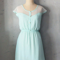 PREORDER //  PETIT DEJEUNER in Spearmint- Mint chiffon dress ivory lace inset // bridesmaid dress // woodland // romantic // day // party