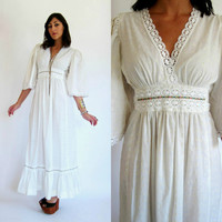 Vintage 70s White Maxi Ethereal BOHEMIAN by GypsyStardustDesign