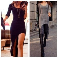 Asymmetrical Hem Long Sleeve dress from DoubleLW