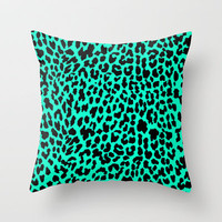 Neon Mint Leopard Throw Pillow by MN Art