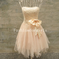 2013 style Charming A-line Sweetheart Mini Bowknot Prom Dresses