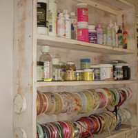 Wood Ribbon Shelf Craft Art Supply Storage by honeystreasures
