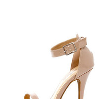 Nude Patent Single Strap Heels
