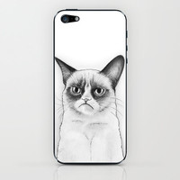 Grumpy Cat Portrait, Tard Drawing iPhone & iPod Skin by Olechka | Society6
