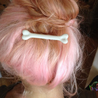 "Small 3"" Bone Hair Clip like Pebbles from the Flinstones"