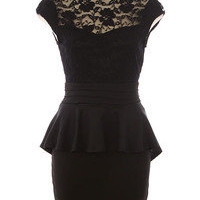 Vixen Boutique — Lace Trimmed Bodice Color Block Peplum Dress
