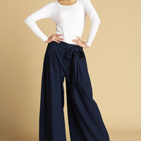 Dark blue linen maxi pants 471 by xiaolizi on Etsy
