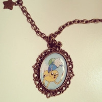 Adventure Time Jake and Finn Cameo Necklace  by RabbitJewellery