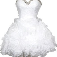 Beaded Organza Florettes Mini Prom Dress Formal Gown Junior and Junior Plus Size: Clothing