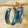 Sea Blue Hoop Earrings - Kiln Fired Copper Enamel | TekaandZoe - Jewelry on ArtFire