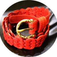 SALE red leather handmade linked belt