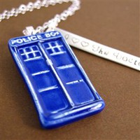 Doctor Who I Double Heart the Doctor Tardis Necklace - Spiffing Jewelry